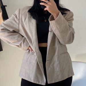 VINTAGE Plaid Beige Wool Blazer -Size L